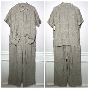 NWT Flax 2 Piece Linen Button Down Shirt And Pants